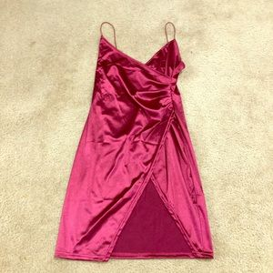 Dress Red Maroon Pink M Zaful Silk